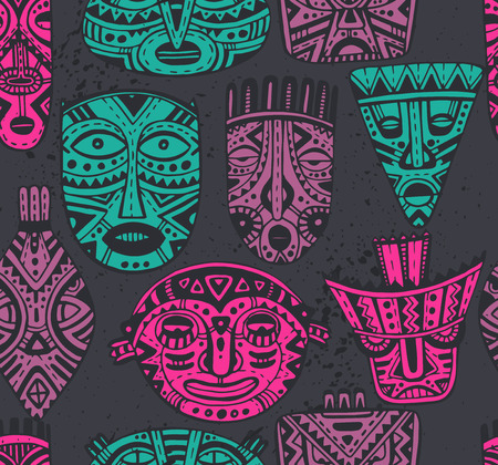 ethnicity: Seamless vector pattern with hand drawn fancy masks in african style. Colorful tribal ethnic endless background