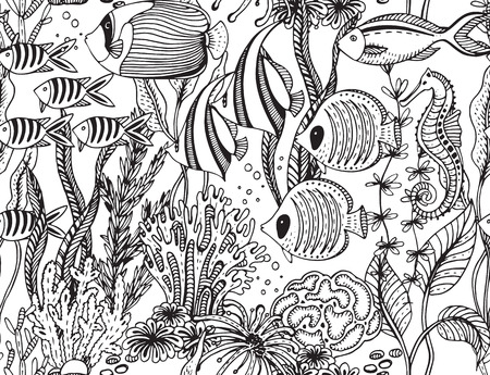sea fishing: Vector monochrome seamless sea pattern with tropical fishes, algae, corals. Underwater world. Black and white hand drawn illustration