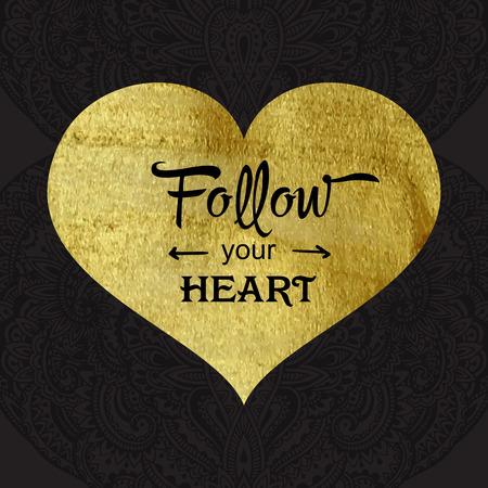 ゴールドのテクスチャの心とグリーティング カードとメッセージと装飾的な背景にあなたの心