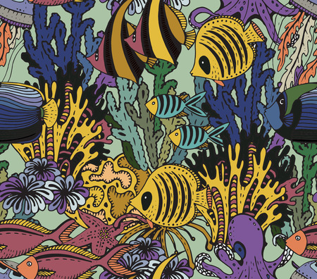 underwater fishes: Vector colorful seamless sea pattern with tropical fishes, stars, jellyfishes, algae, corals. Underwater world. Illustration