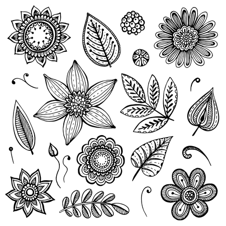 black and white image drawing: White and black doodle floral set. Fancy flowers and leaves; design elements