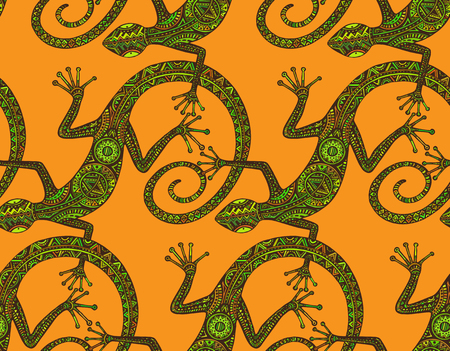 Vector hand drawn seamless pattern with  lizards  or salamanders with ethnic tribal pattern. Beauty reptile decoration  in green and orange colors. Ilustração
