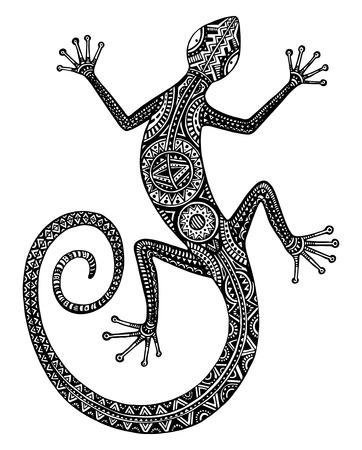aborigen: Vector dibujado a mano lagarto blanco y negro o salamandra con patrones tribales étnicas. Belleza decoración reptil con el ornamento de diseño del tatuaje Vectores