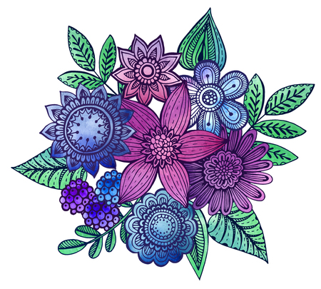 hand drawn flower:   illustration with hand drawn doodle fancy flowers bouquet with watercolor texture