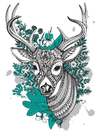 Hand drawn vector horned deer with high details ornament, flowers and herbs on white background. Black, white and mint colors Illustration