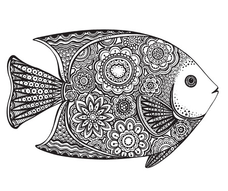 Hand drawn vector fish with floral elements in black and white doodle style. Pattern for coloring book Illustration