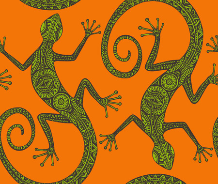 Vector hand drawn seamless pattern with  lizards  or salamanders with ethnic tribal pattern. Beauty reptile decoration  in green and orange colors. Illustration