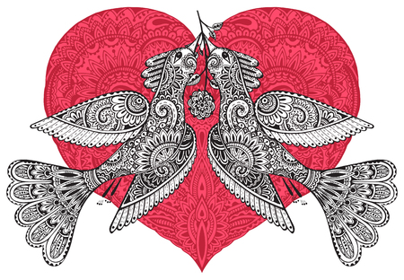 Vector colorful hand drawn illustration of two ornamental fancy birds with ornate red heart on background. Greeting card for Saint Valentine