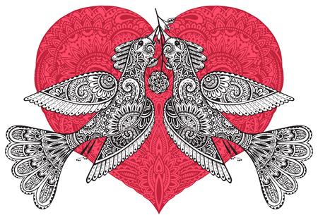 Vector colorido dibujado a mano ilustración de dos pájaros de fantasía ornamentales con el corazón rojo adornado en el fondo. Tarjeta de felicitación para San Valentín
