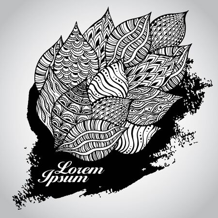 leaf line: Vector background with doodle pattern on grunge texture. Vector abstract elements.