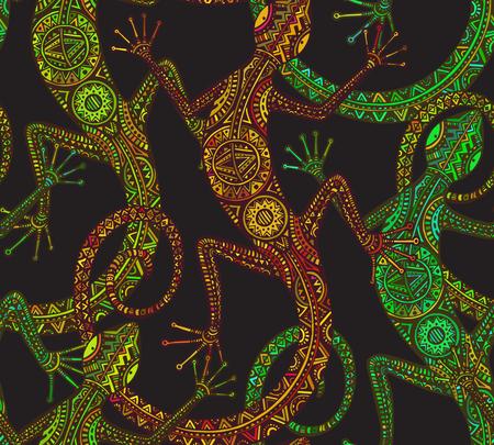 lagartija: Vector dibujado a mano sin patrón, con lagartija o salamandra con el patrón tribal étnica. Decoración colorida belleza reptil.