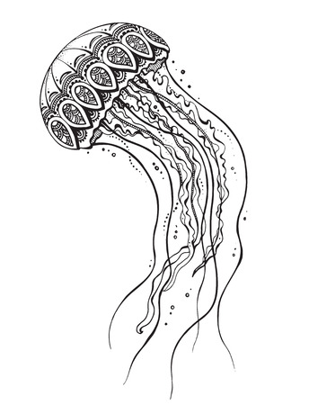 Hand drawn vector jellyfish in black and white zentangle doodle style. Pattern for coloring book