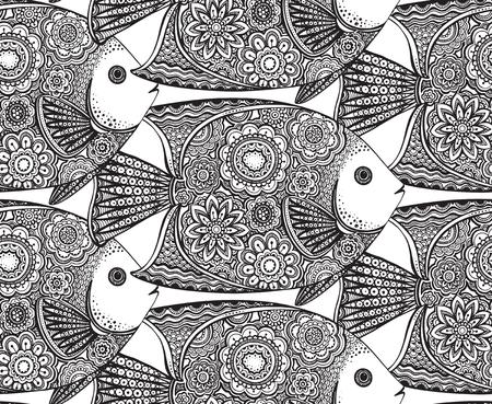 黒と白の落書きスタイルで花の要素と手描きの魚とシームレスなパターンをベクトル。塗り絵のパターン  イラスト・ベクター素材