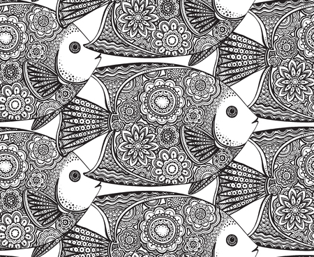 line art: Vector seamless pattern with Hand drawn fish with floral elements in black and white doodle style. Pattern for coloring book