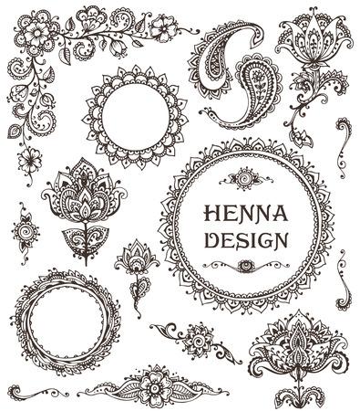 arabesco: Vector conjunto de elementos florales de henna sobre la base de los ornamentos tradicionales de Asia. collecton Paisley Mehndi tatuaje Doodles