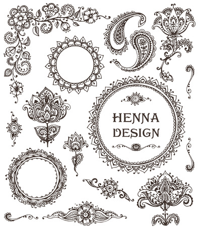 Vector Set of henna floral elements based on traditional Asian ornaments. Paisley Mehndi Tattoo Doodles collecton Vettoriali