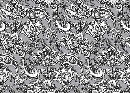 mhendi: Vector seamless pattern with hand drawn Henna mehndi design floral elements