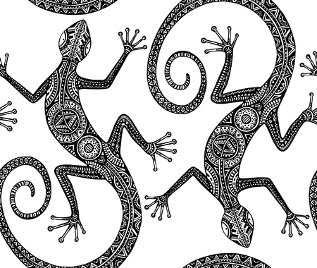 Vector hand drawn seamless pattern with monochrome lizard or salamander with ethnic tribal pattern. Beauty reptile decoration with ornament. Illustration