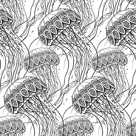 jellyfish: Vector seamless pattern with Hand drawn jellyfish  in black and white doodle style. Pattern for coloring book