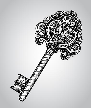 手は、黒と白のスタイルで華やかなアンティークのドアやゲートの鍵を描画します。ビンテージ パターンを持つ美しいイラスト。  イラスト・ベクター素材