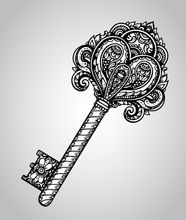 hand drawn antique ornate door or gate key in black and white style. Beautiful illustration with vintage pattern. Illustration