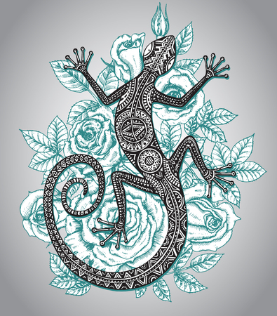 Vector dibujado a mano lagartija o salamandra con el modelo tribal étnica y menta rosas flores fondo