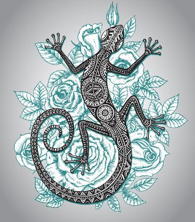salamandra: Vector dibujado a mano lagartija o salamandra con el modelo tribal étnica y menta rosas flores fondo