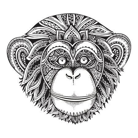 華やかな zentagle チンパンジー猿の手描き白黒ベクトル イラスト。エスニック グラフィック タトゥー スタイル。  イラスト・ベクター素材