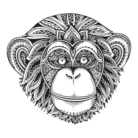 Hand drawn monochrome vector illustration of ornate zentagle chimpanzee monkey. Ethnic graphic tattoo style.