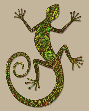 벡터 손은 민족 부족 패턴과 다채로운 도마뱀이나 도롱뇽을 그려. 아름다운 장식 뷰티 파충류 장식