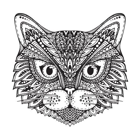 lineas decorativas: Dibujado a mano la cara del gato gr�fico blanco y negro adornado del doodle. Ilustraci�n del vector para el dise�o de camisetas, tatuajes, y otras cosas