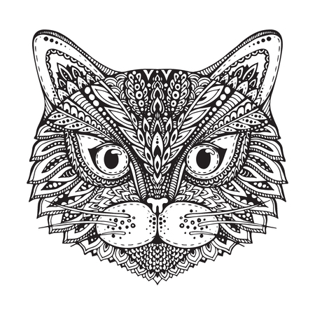 black and white image drawing: Hand drawn ornate doodle graphic black and white cat face. Vector illustration for t-shirts design, tattoo, and other things Illustration