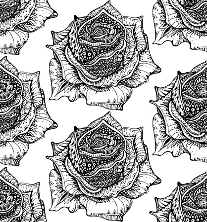pattern flower: Beautiful seamless pattern with hand drawn ornate rose flowers in doodle style. Monochrome endless background