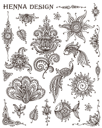 ornamental fish: Vector Set of henna floral and animal elements based on traditional Asian ornaments. Paisley Mehndi Tattoo Doodles collection