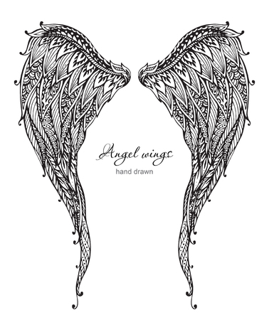 tattoo wings: Vetor hand drawn ornate angel wings,  style. Doodle black and white illustration Illustration
