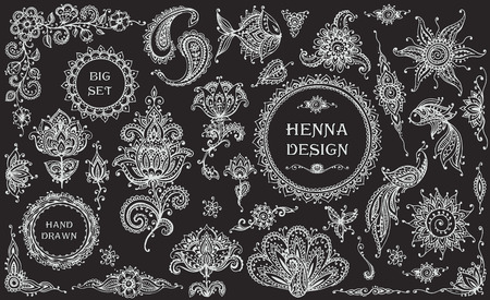 traditional: Big vector Set of henna floral and animal elements and frames based on traditional Asian ornaments. Paisley Mehndi Tattoo Doodles collection Illustration