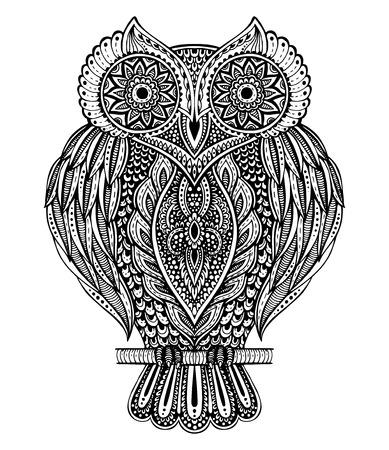 sowa: Czarno-biały wektor ręcznie rysowane ozdobny sowa w stylu kolorowanka, koszulki, torby, pocztówka, plakat