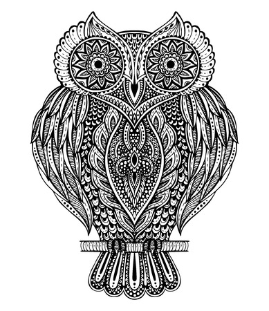 Black and white vector hand drawn ornate  owl in  style for coloring book, t-shirt, bag, postcard, poster