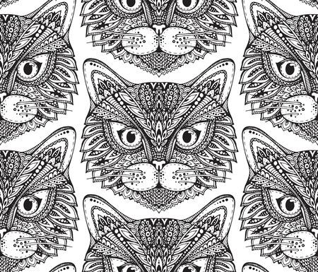 手でシームレスなパターンには、華やかな落書きグラフィック白黒猫の顔が描かれています。