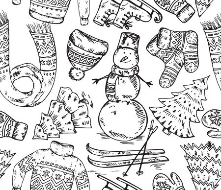 december background: Seamless pattern with winter holiday elements. Warm clothes, hat, sleigh, scarf, sweater, snowman, ski, tree and other. Endless Christmas background