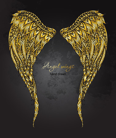 hand drawn ornate golden angel wings in style. Doodle illustration on grunge background