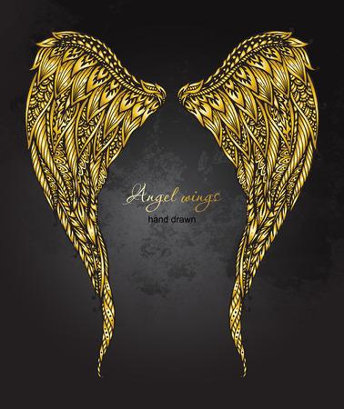 engel tattoo: Hand gezeichnet verzierten goldenen Engelsfl�gel im Stil. Doodle Darstellung auf Grunge-Hintergrund