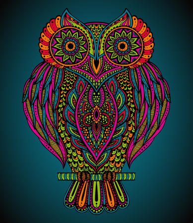 Colorful beautiful hand drawn ornate  owl for  t-shirt, bag, postcard, poster