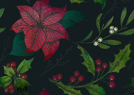 omela: seamless pattern with hand drawn winter plants - poinsettia, mistletoe, holly with watercolor texture. Christmas and New Year sketch background. Can be used for greeting and invitation cards, banners, postcards, prints on textile, paper, scrapbooking. Illustration