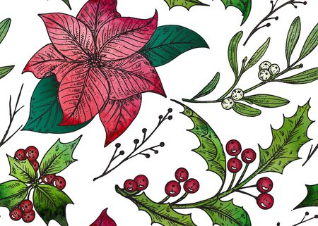 holly berry: seamless pattern with hand drawn winter plants - poinsettia, mistletoe, holly with watercolor texture. Christmas and New Year sketch background. Can be used for greeting and invitation cards, banners, postcards, prints on textile, paper, scrapbooking. Illustration