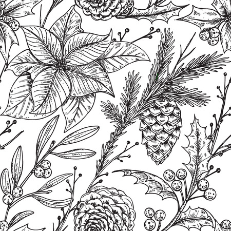holly: seamless pattern with hand drawn winter plants - poinsettia, mistletoe, fir-cone, holly.Christmas and New Year sketch background. Can be used for greeting and invitation cards, banners, postcards, prints on textile, paper, scrapbooking. Illustration