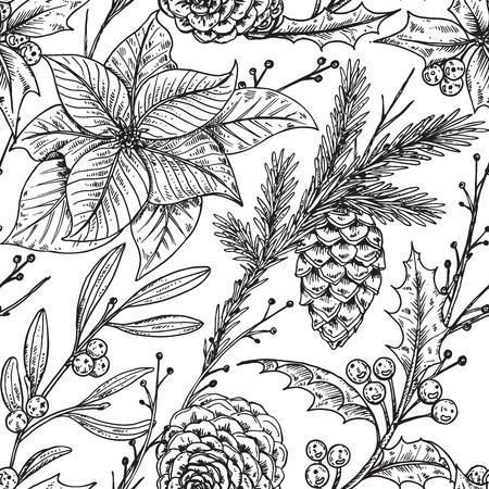 houx: seamless plantes dessinés à la main d'hiver - poinsettia, le gui, fir-cone, holly.Christmas et Nouvel An fond croquis. Peut être utilisé pour voeux et cartes d'invitation, bannières, cartes postales, gravures sur textile, papier, scrapbooking. Illustration
