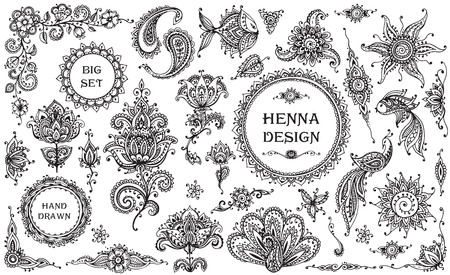 mendie: Big Set of henna floral and animal elements and frames based on traditional Asian ornaments. Paisley Mendie Tattoo Doodles collection Illustration