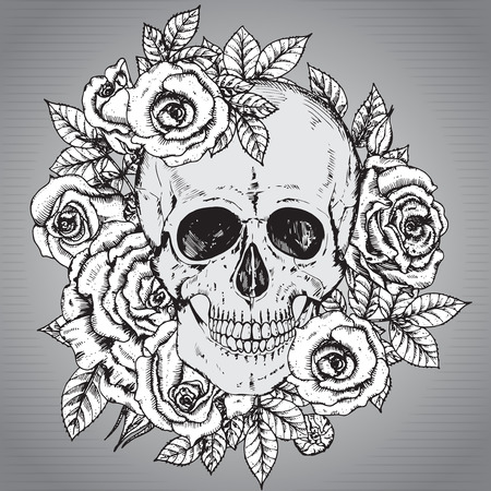 rose bouquet: Vector illustration with hand drawn human skull with rose flowers in sketch style Illustration