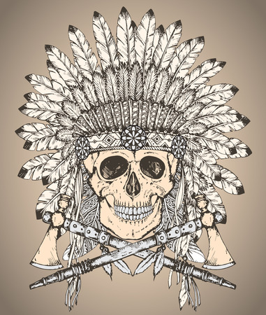 indian headdress: Hand drawn vector illustration of Native American Indian headdress with human skull and two tomahawks in sketch style. Traditional tribal chief feather hat and skull Illustration